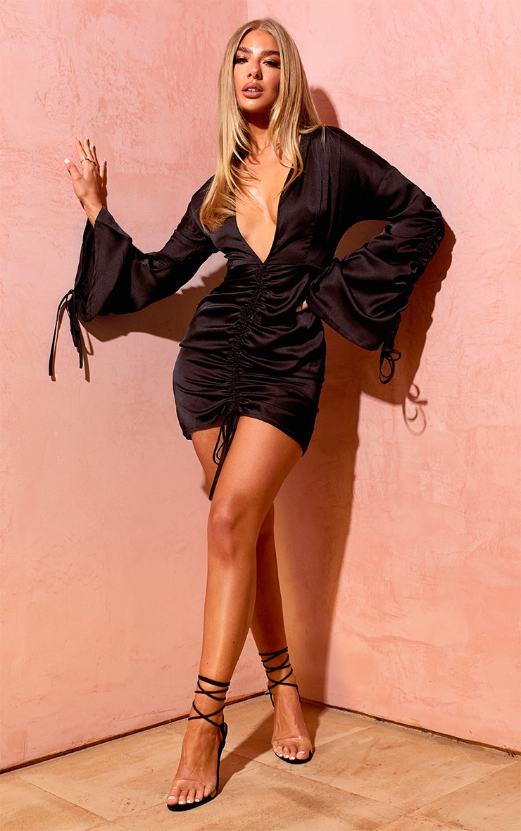 Black Satin Plunge Ruched Front Dress