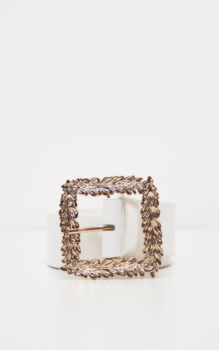 White Leaf Buckle Effect Waist Belt 3