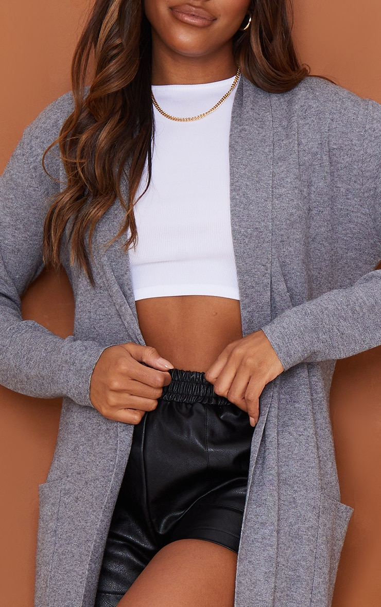 Charcoal Belted Longline Edge To Edge Cardigan 4
