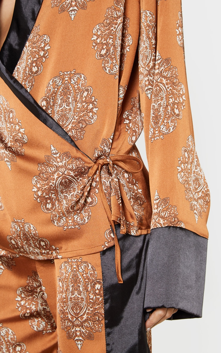 Rust Satin Paisley Print Contrast Blouse 5