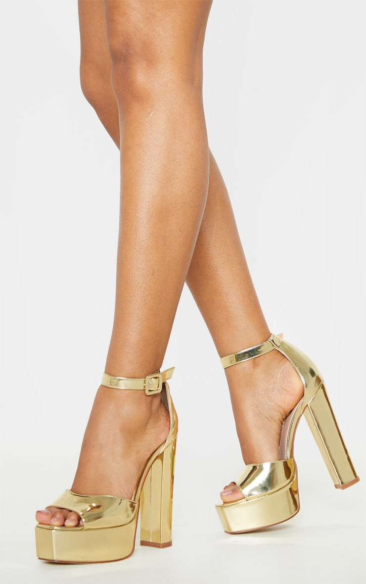 Gold Platform High Sandal 1