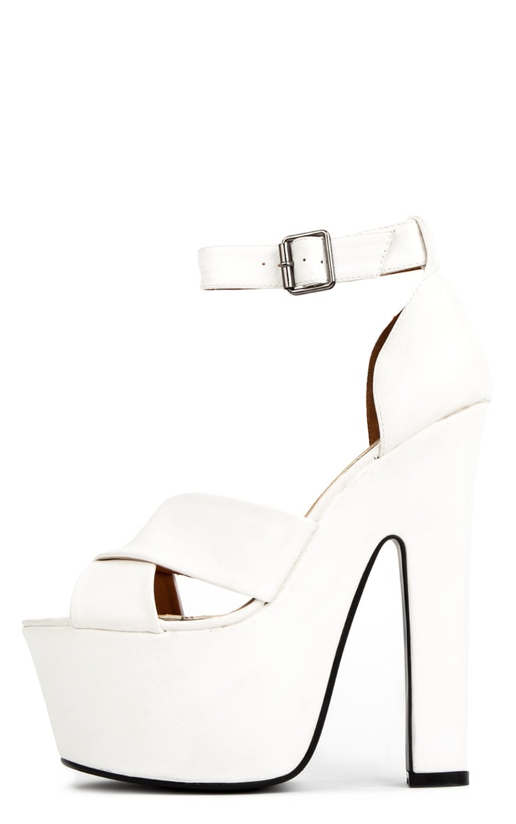 Callie White Leather Chunky Platform Shoes 1