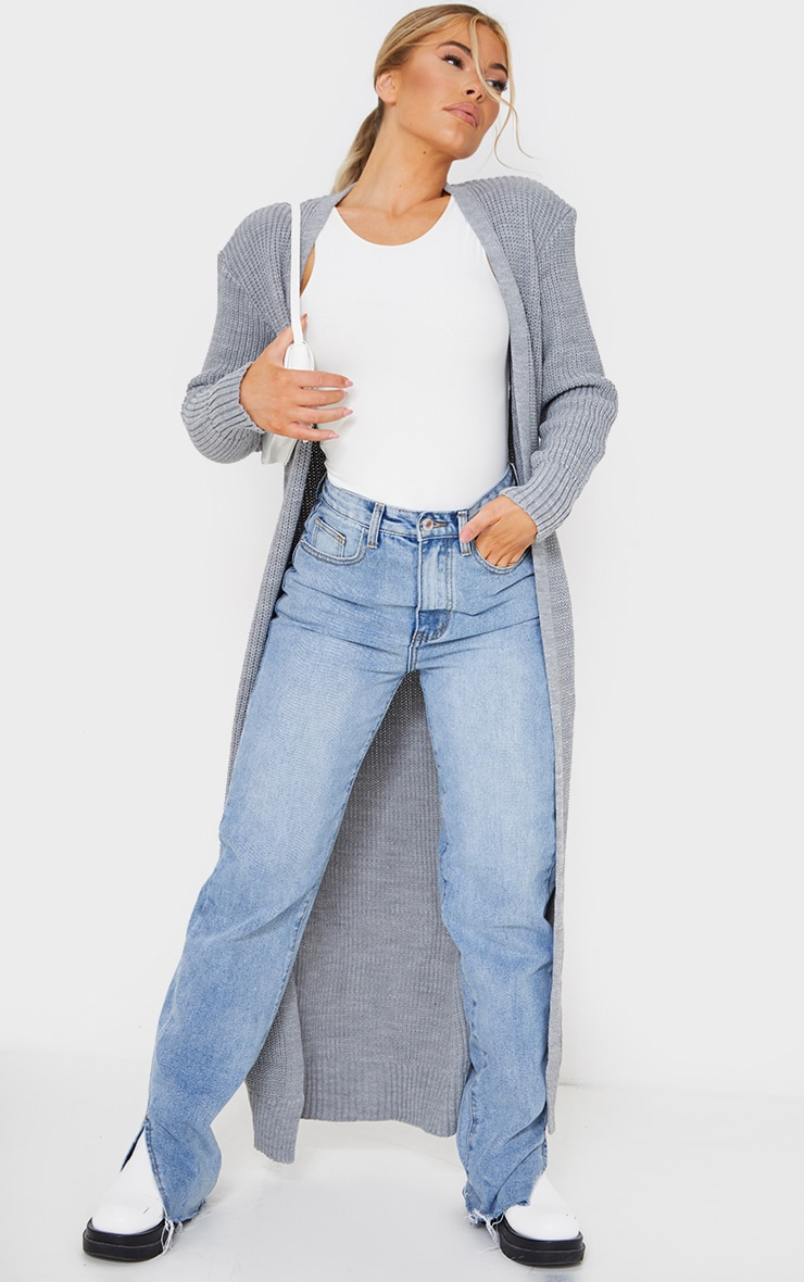 Light Grey Maxi Knitted Cardigan 3