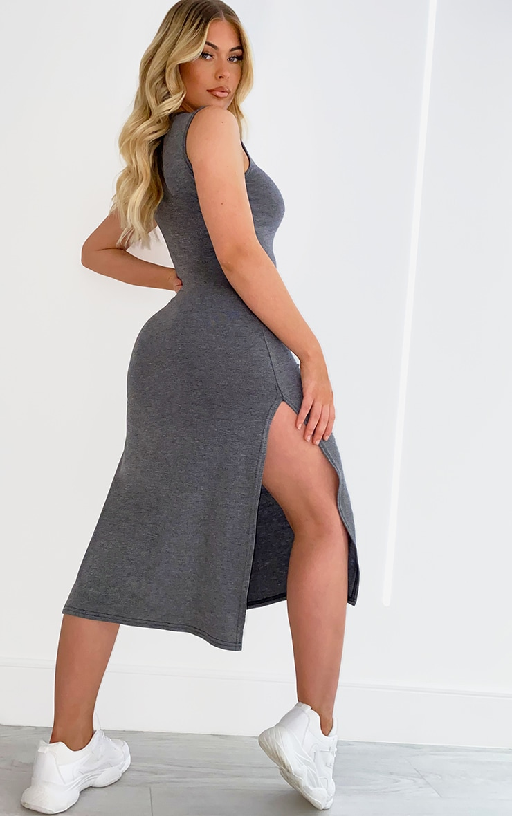 Charcoal Sleeveless Split Hem Midi Dress 2
