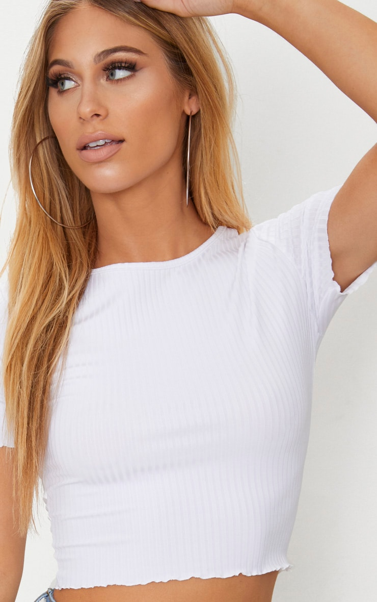 White Rib Frill Detail Crop T Shirt 5