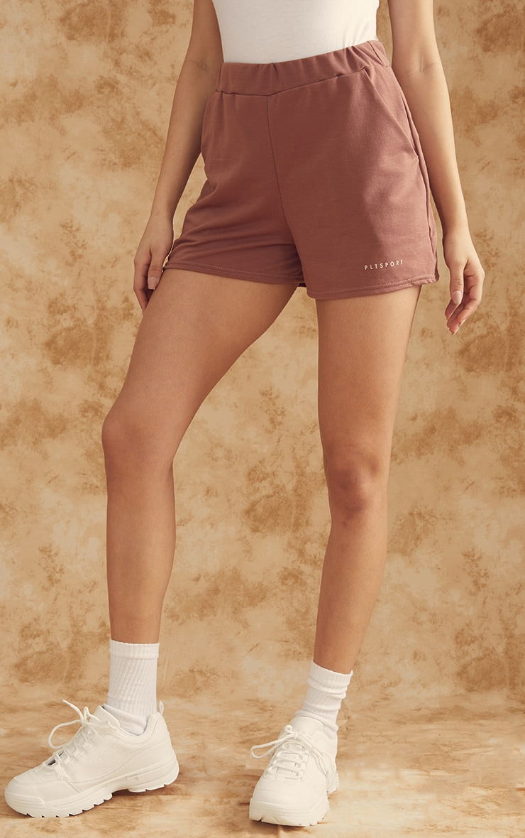 PRETTYLITTLETHING Chocolate Sport Sweat Shorts 2