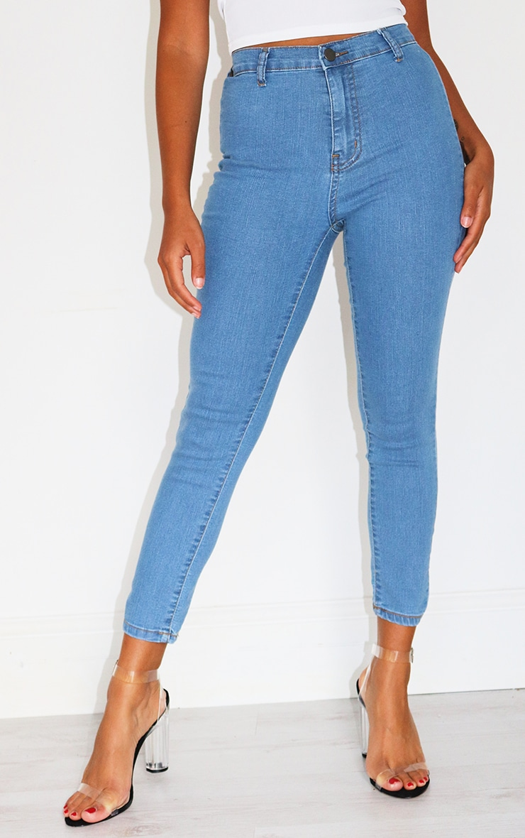 Petite Mid Blue Wash Disco Fit Skinny Jeans 2