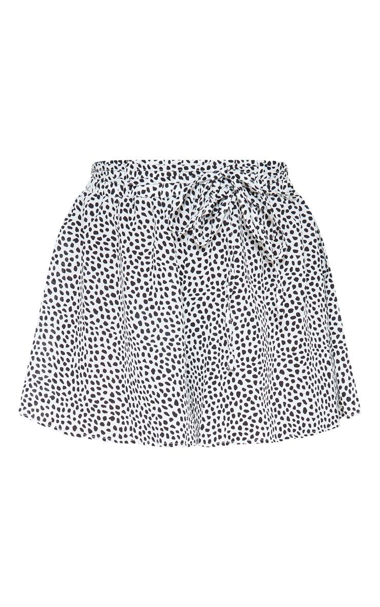 White Dalmatian Print Tie Waist Floaty Short  3