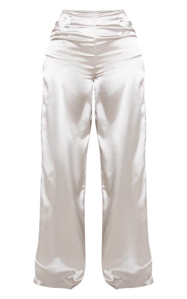 Shape Silver Satin Seam Detail Wide Leg Pants 3