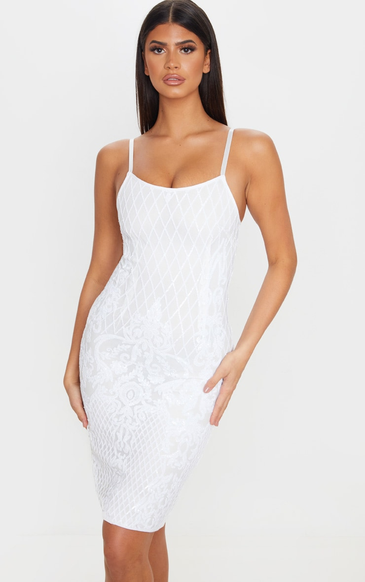 White Strappy Sequin Detail Split Back Midi Dress, White