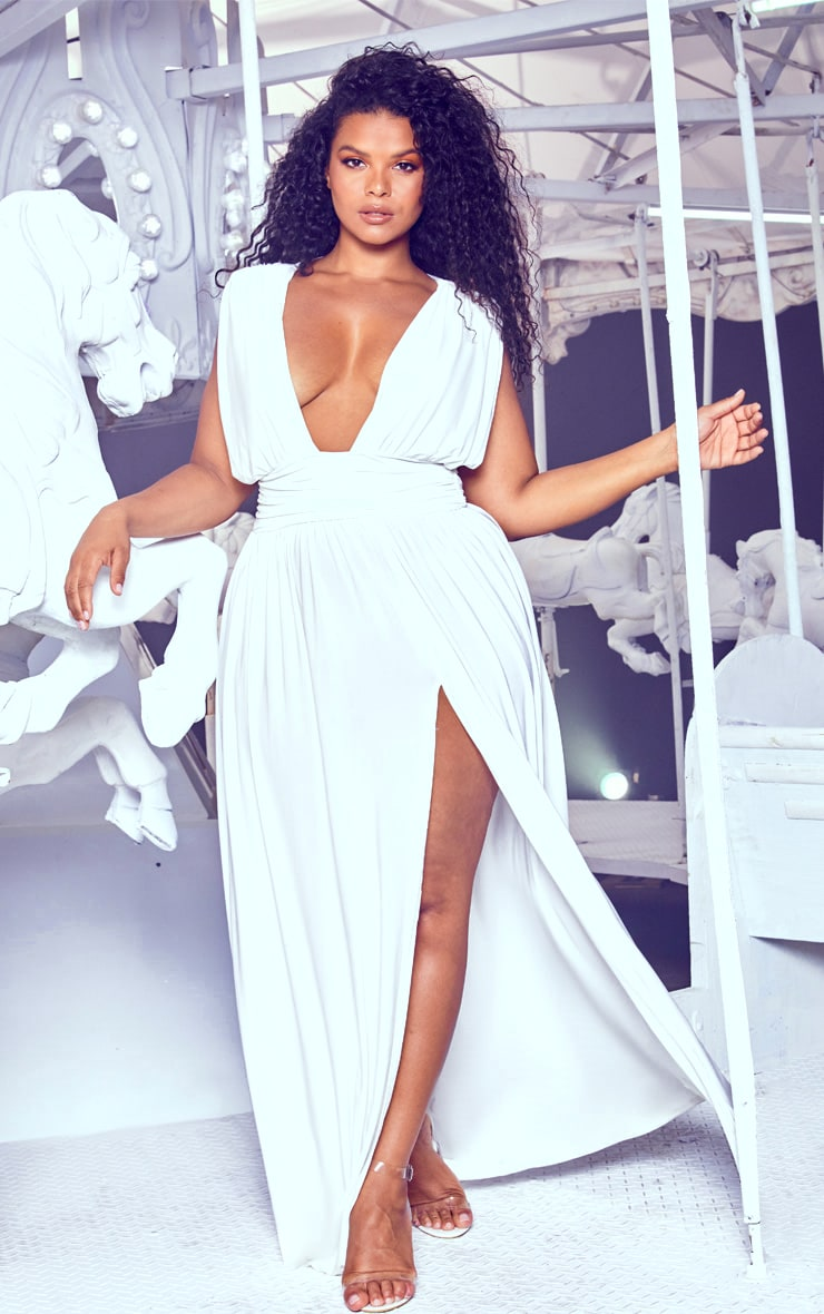 Plus White Ruched Plunge Maxi Dress 1