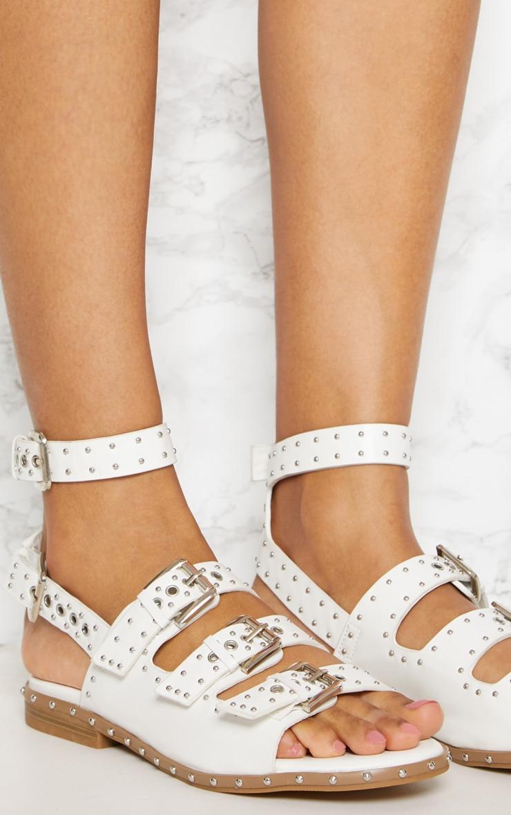 White Studded Buckle Sandal 5