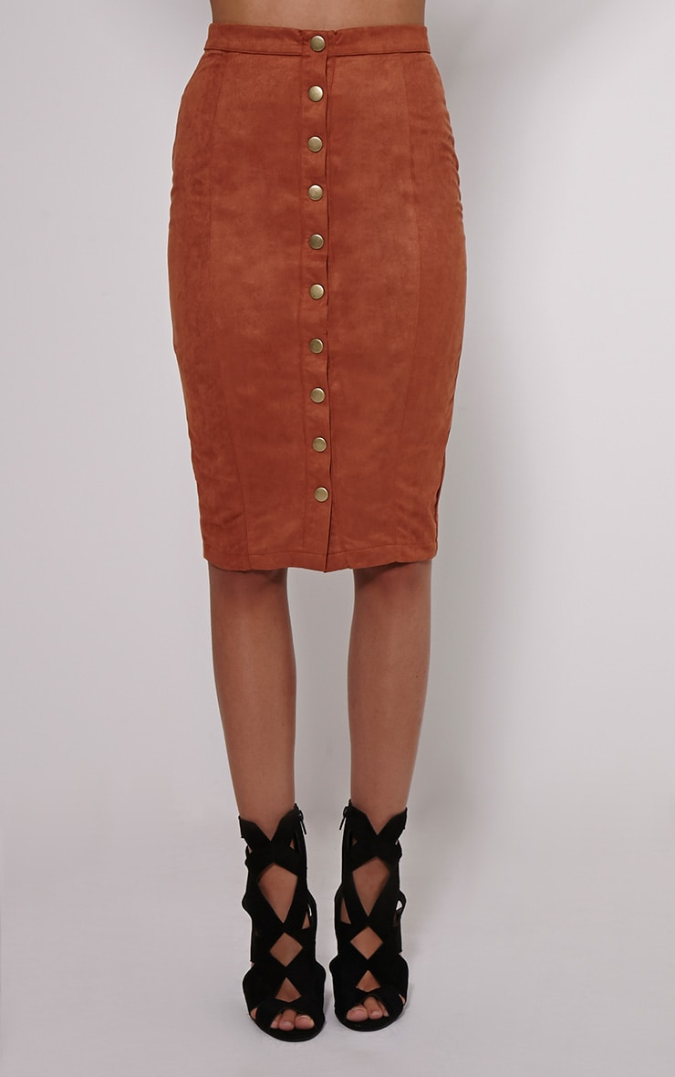 Meemee Tan Button Front Suede Midi Skirt 2
