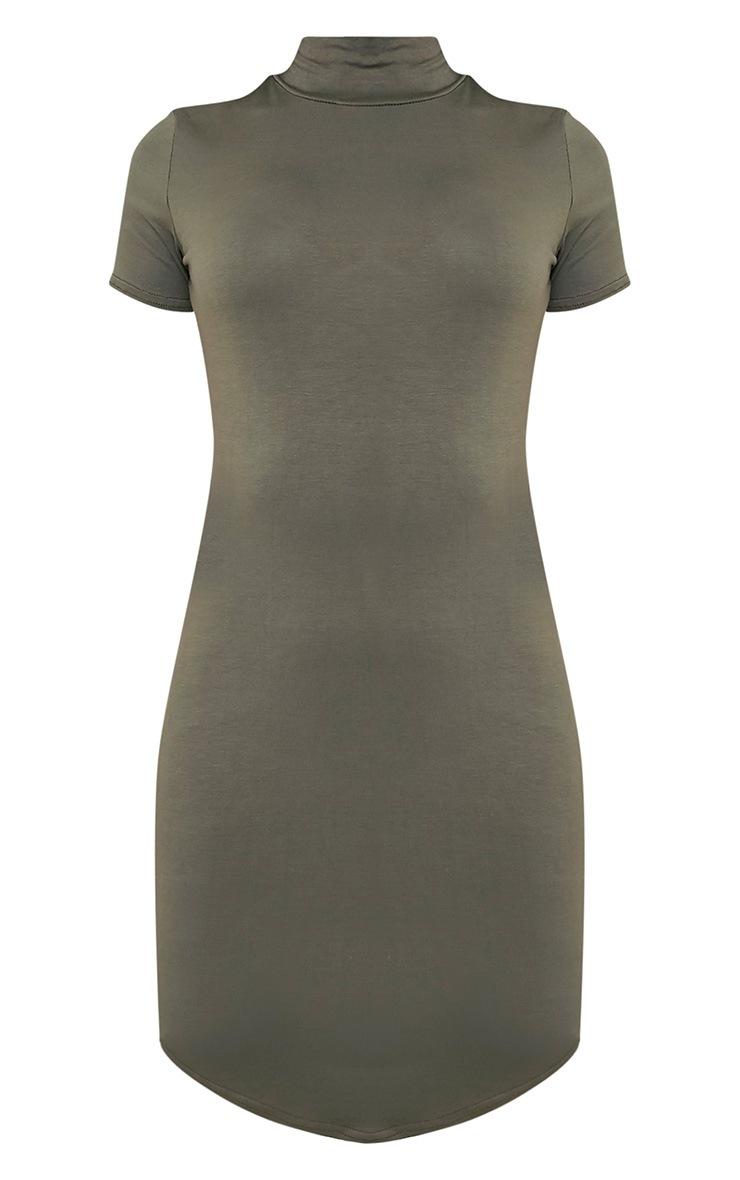 Alby Khaki Cap Sleeve Curve Hem High Neck Dress 3