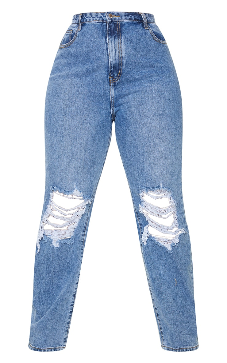 Plus Mid Blue Wash Ripped Knee Long Leg Straight Jeans 5