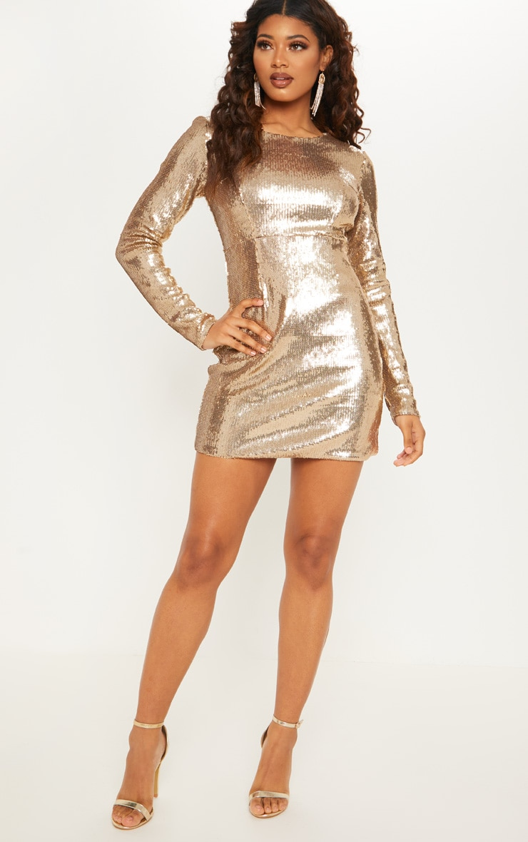 Tall Gold Sequin Long Sleeve Bodycon Dress 4