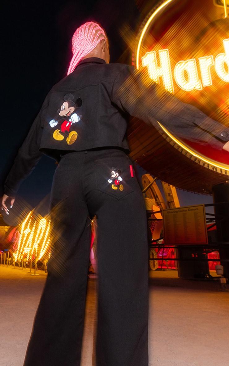 Black Disney Mickey Crop Denim Jacket 1