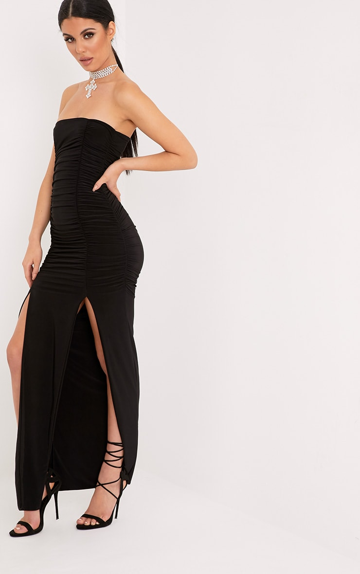 Nia Black Ruched Detail Split Maxi Dress 4