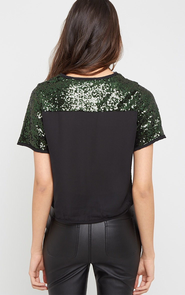 Diya Green Sequin Crop Tee 2