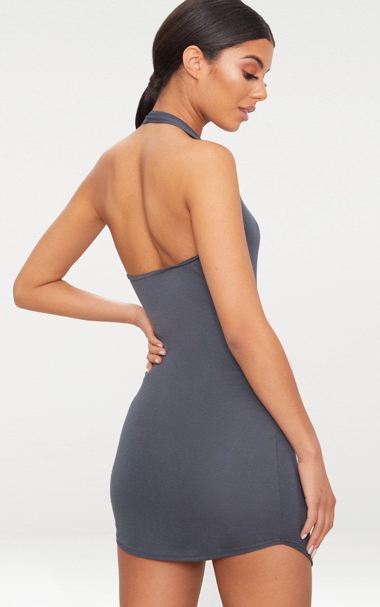 Basic Charcoal Grey Halterneck Bodycon Dress 2