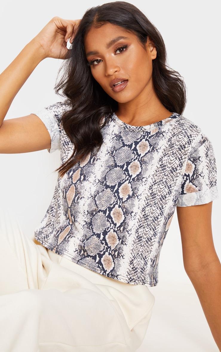 Basic Brown Snake Roll Sleeve Crop T Shirt 1