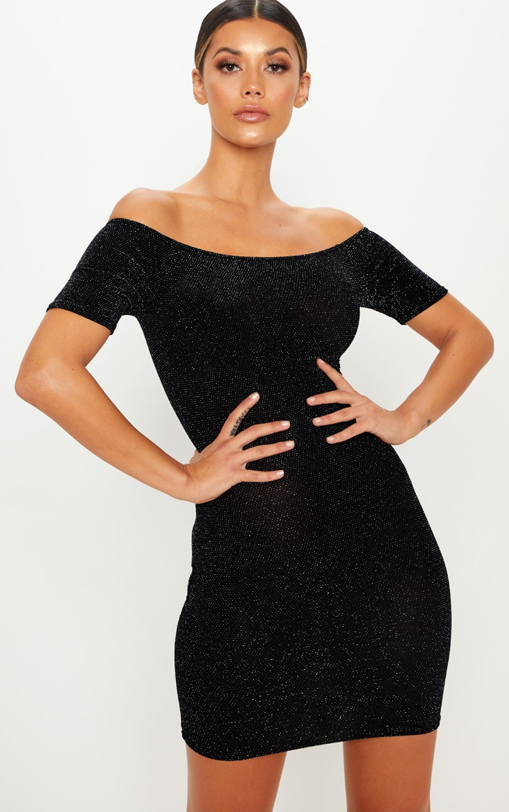 Black Bardot Short Sleeve Textured Glitter Bodycon Dress 1
