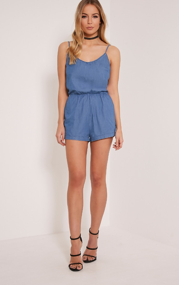 Claudia Dark Blue Denim Style Playsuit 5