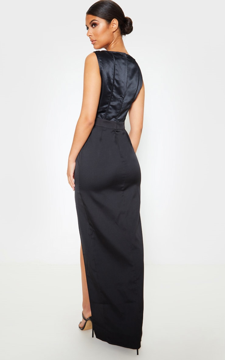 Black Corset Detail Sleeveless Maxi Dress 2