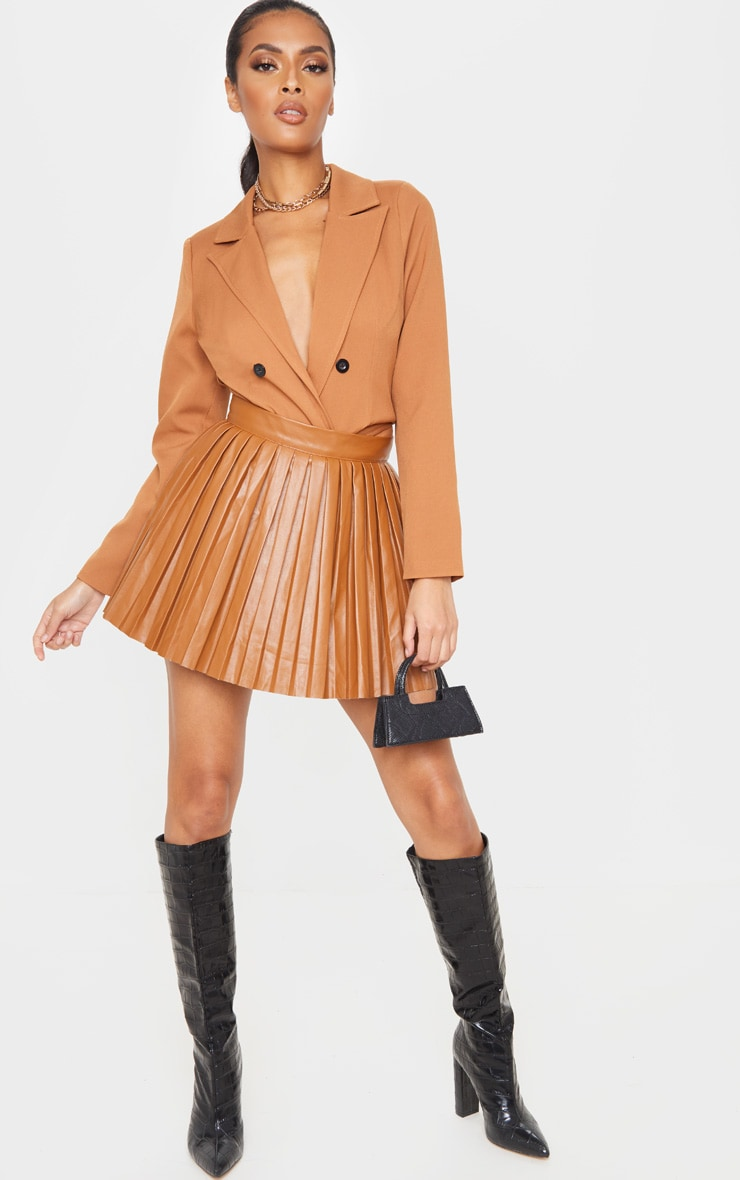 Camel Faux Leather Pleated Skater Skirt 6