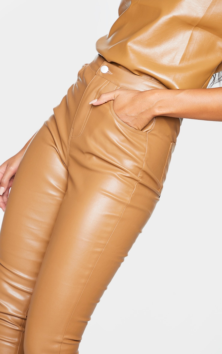 Camel Button Up Faux Leather Skinny Trousers 4