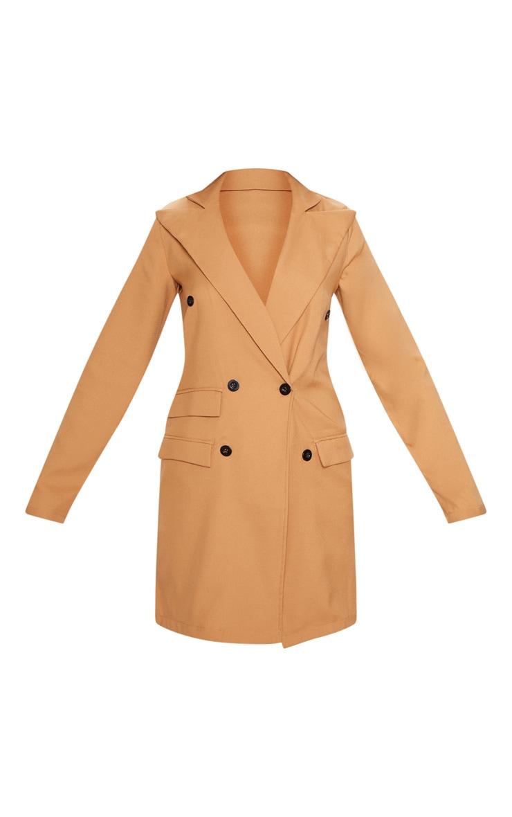 Camel Pocket Detail Blazer Dress 3