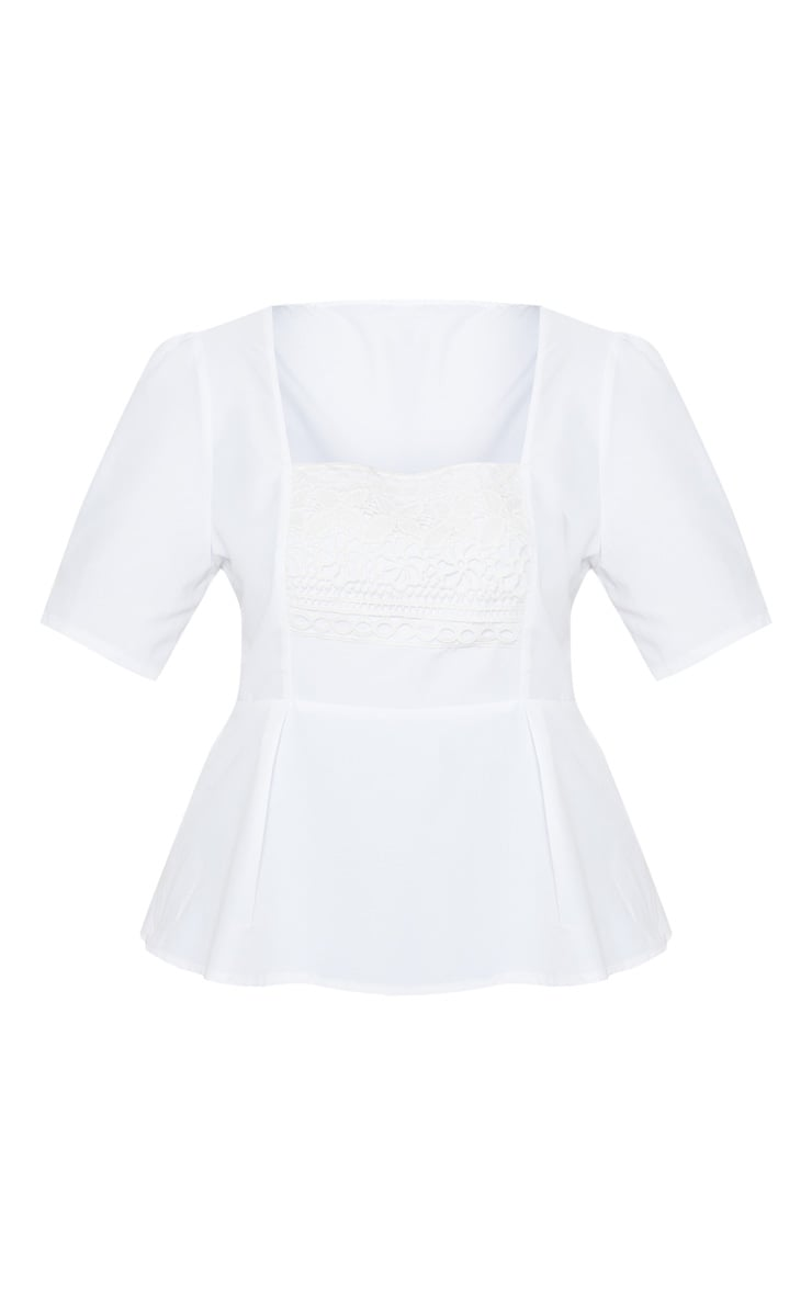 Plus White Crochet Detail Short Sleeve Top 3