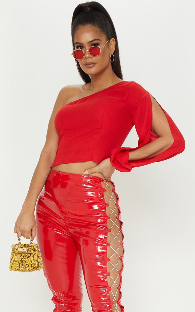 Red One Shoulder Blouse 1
