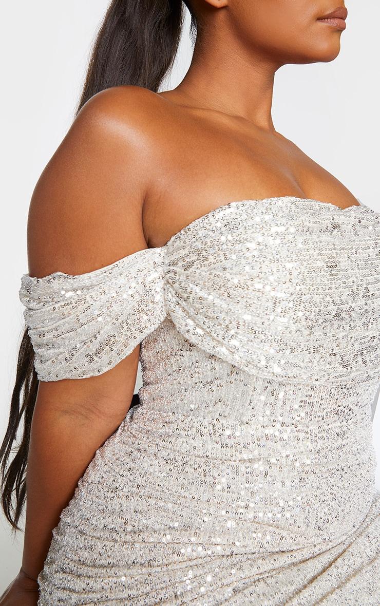 Plus Silver Sequin Bardot Bodycon Dress 4