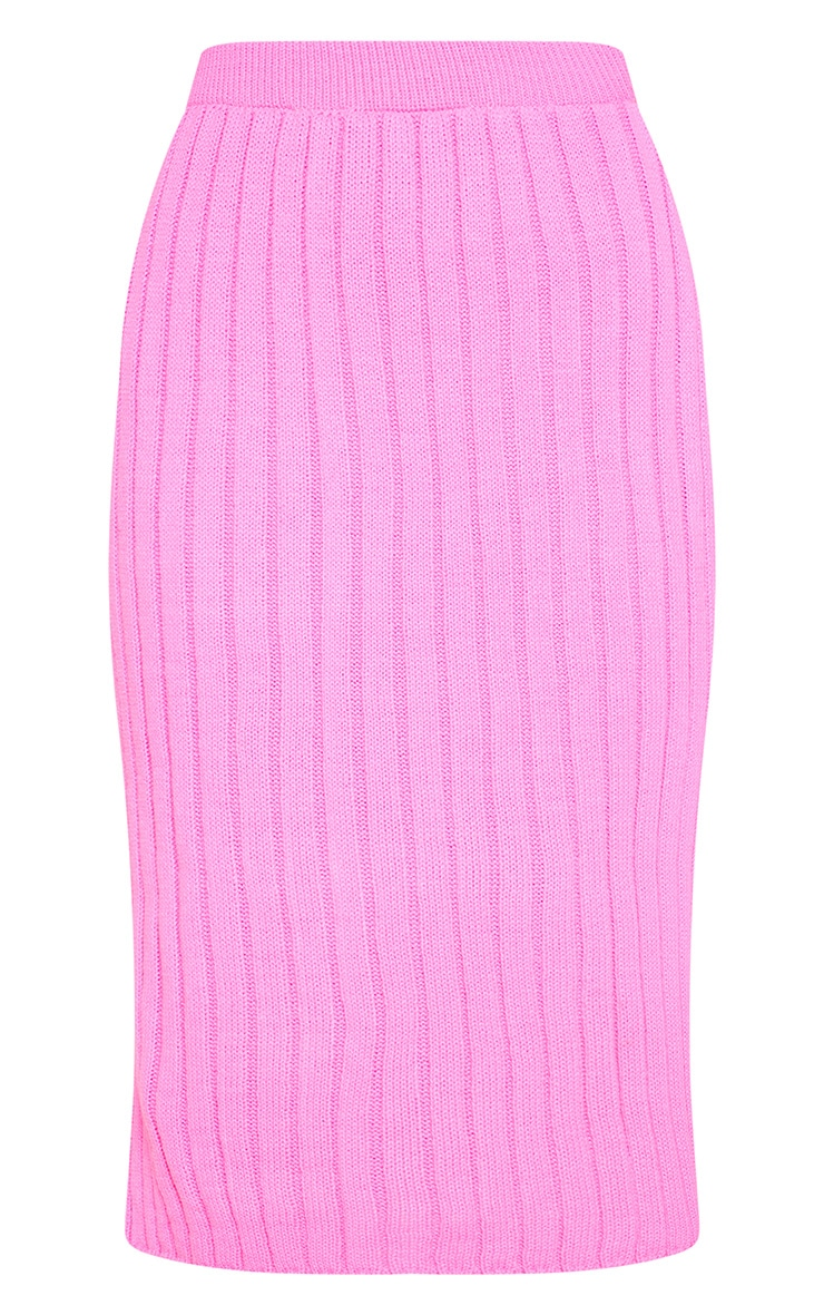 Hot Pink Knitted Ribbed Midi Skirt 3