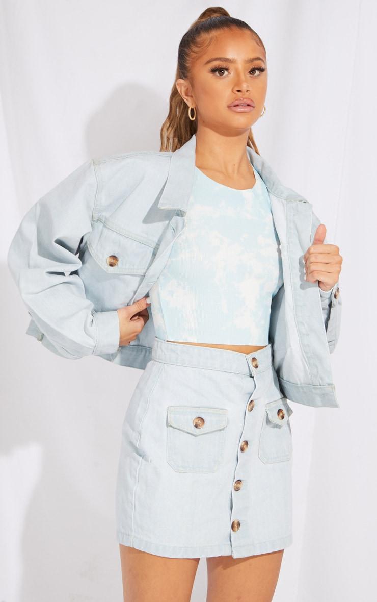 Petite Bleach Wash Button Front Denim Mini Skirt 1