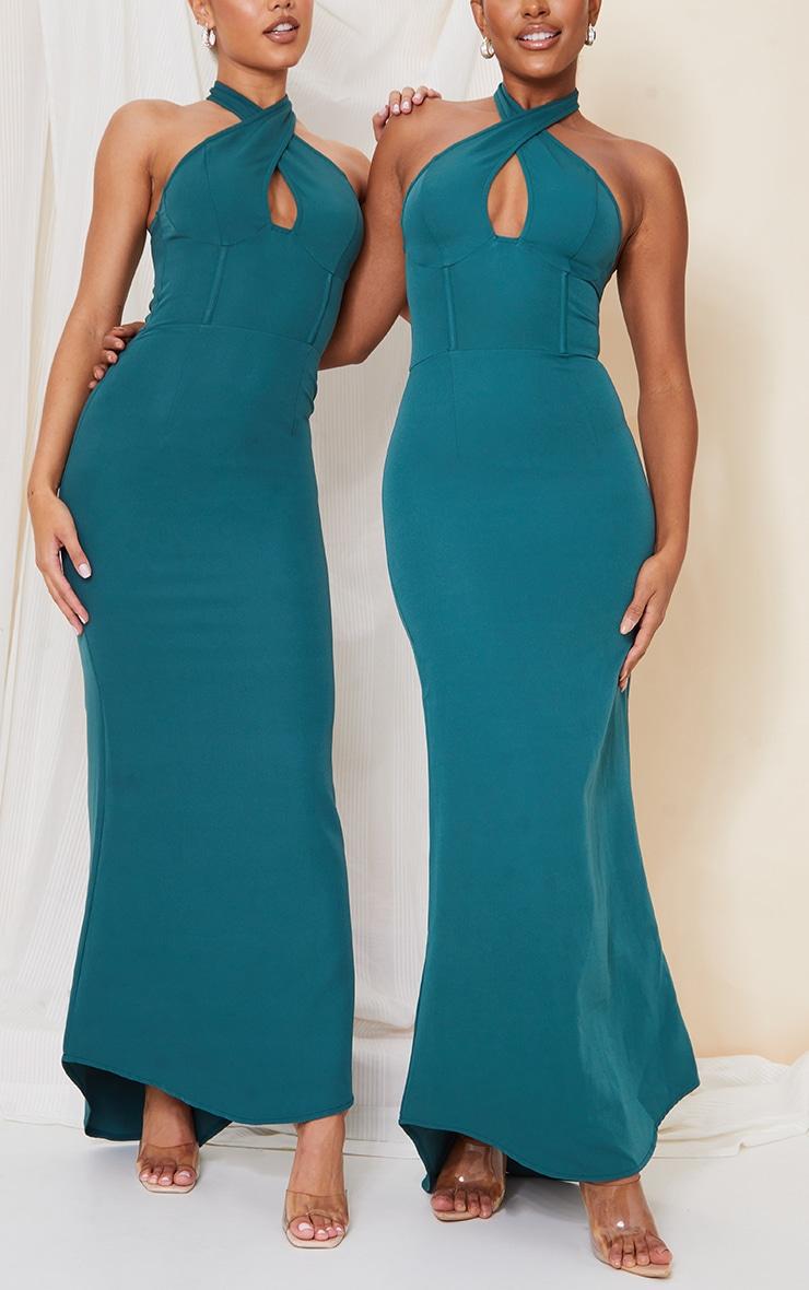Emerald Green Bridesmaid Corset Detail Cross Front Maxi Dress 5