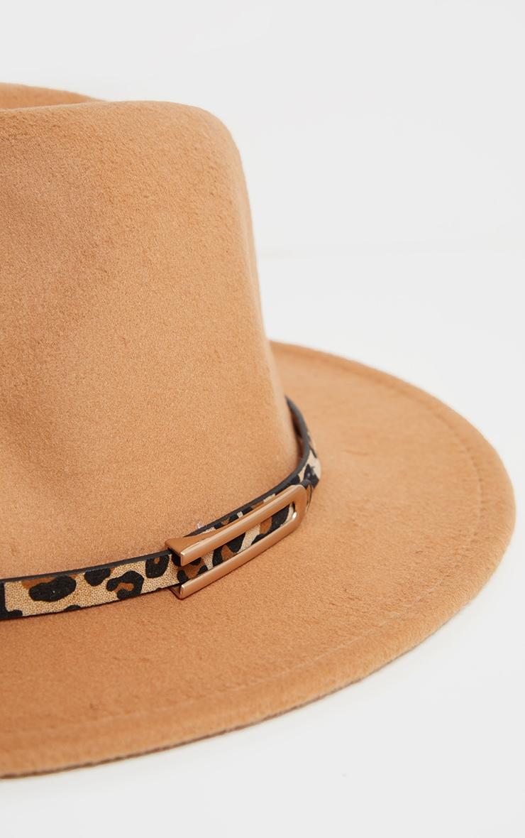 Chapeau fédora camel à bande léopard 3