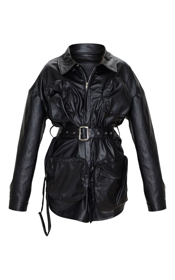Black Faux Leather Utility Pocket Belted Jacket 4