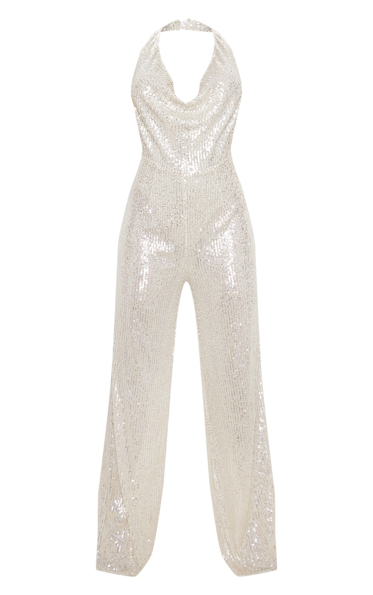 Silver Sequin Cowl Neck Wide Leg Jumpsuit 3