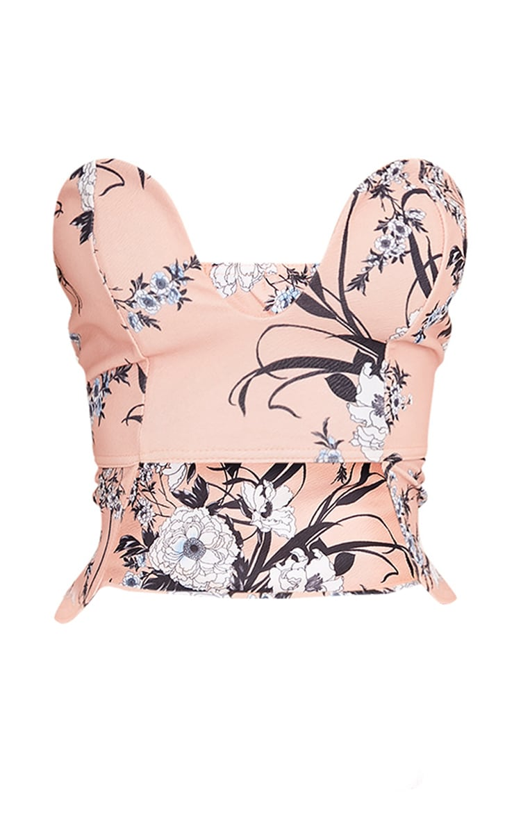 Blanka Nude Floral Print Bandeau Cut Out Crop Top  3