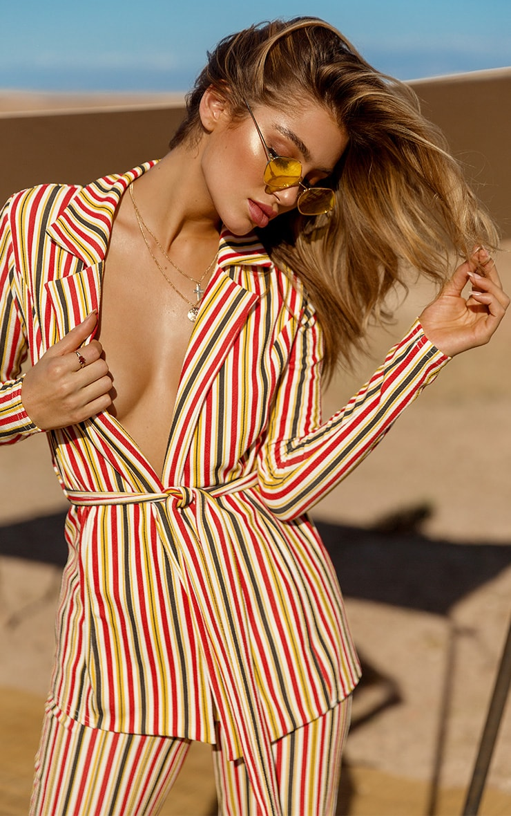Mustard Striped Belted Blazer