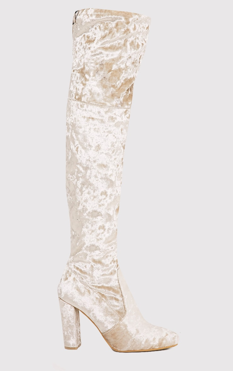 Bess Champagne Crushed Velvet Heeled Thigh Boots 2