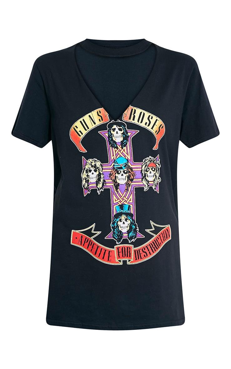 T-shirt noir surdimensionné à découpes et slogan Guns N' Roses 3