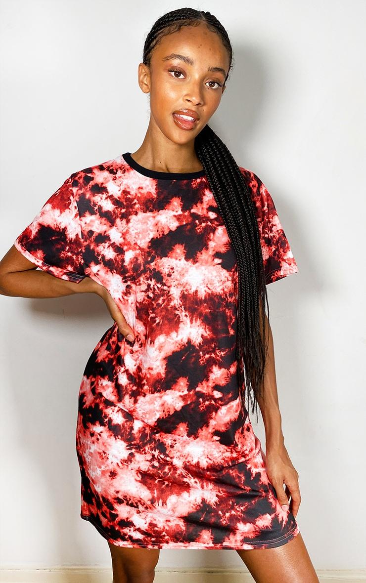 Red Tie Dye T Shirt Dress 1