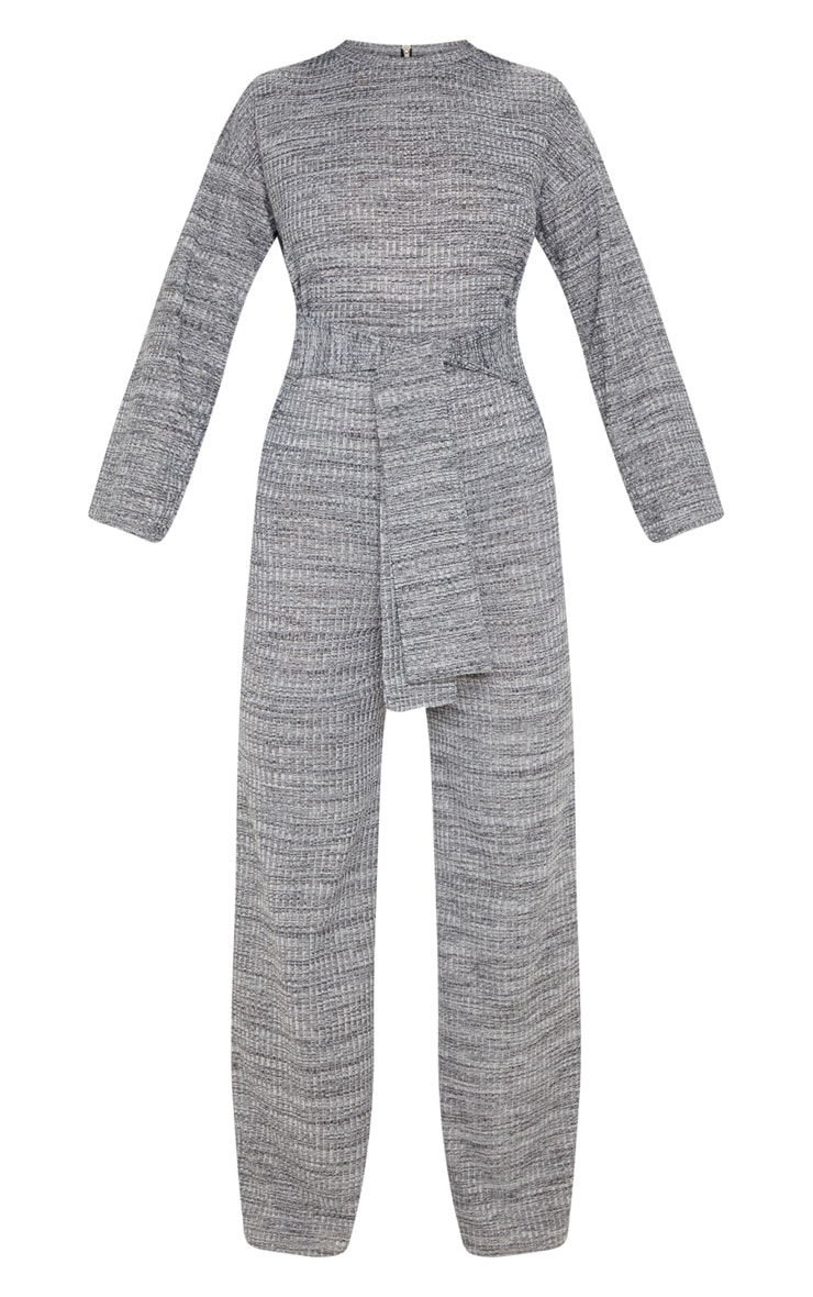 Grey Rib Crew Neck Long Sleeve Jumpsuit 3