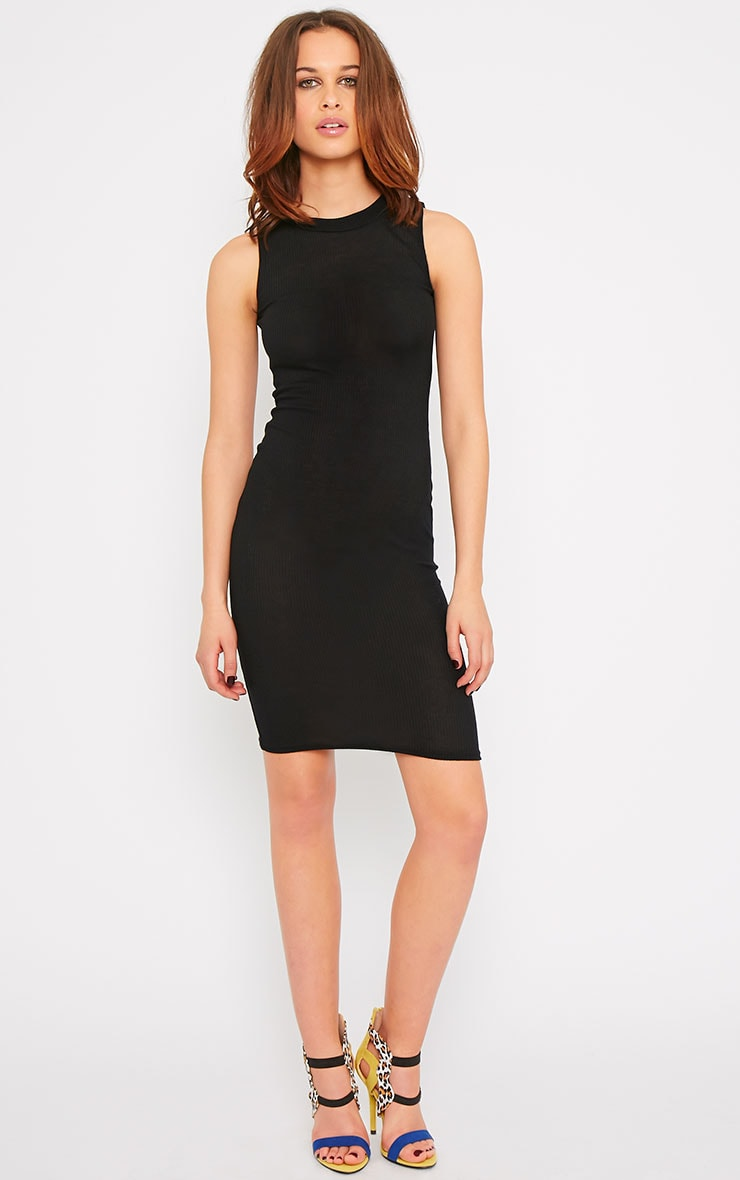 Bella Black Ribbed Sleeveless Dress 1