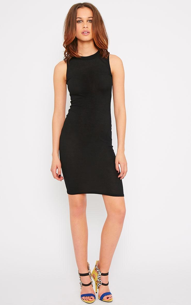 Bella Black Ribbed Sleeveless Dress 1
