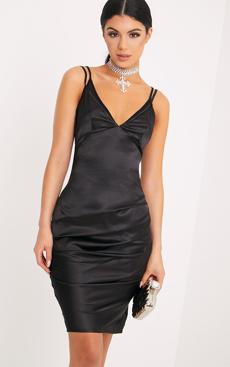 Amber Black Satin Mesh Bralet Midi Dress 1