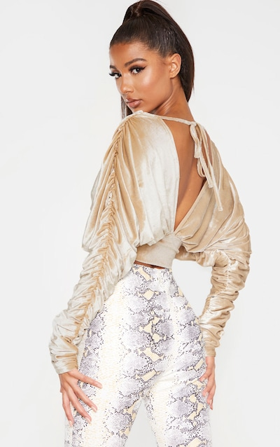 Champagne Velvet Ruched Sleeve Deep Plunge Crop Top